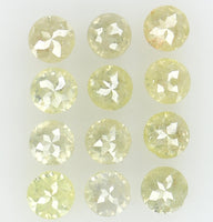 Natural Loose Diamond Round Rose Cut Light Yellow Color I2 Clarity 12 Pcs 1.31 Ct L5628