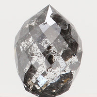 Natural Loose Diamond Drop Black Grey Salt And Pepper Color I1 Clarity 4.60 MM 0.46 Ct L5636