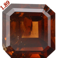 GIA CERTIFIED Natural Loose Diamond Emerald Deep Brown Orange Color I2 Clarity 1.89 Ct KDL2460