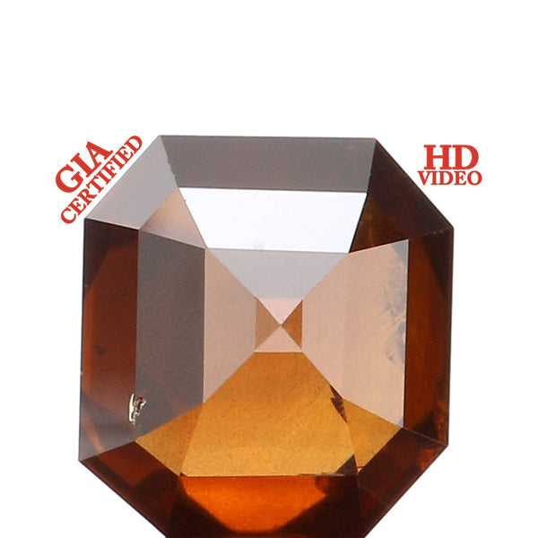 GIA CERTIFIED Natural Loose Diamond Emerald Orangy Brown Color I2 Clarity 6.68 MM 1.59 Ct L2468