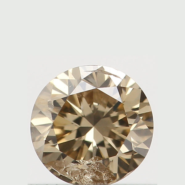 Natural Loose Diamond Round Yellow Brown Color SI1 Clarity 3.30 MM 0.14 Ct KR1345