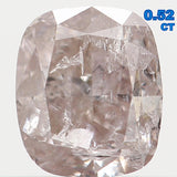 Natural Loose Diamond Cushion Brown Faint Pink Color I2 Clarity 4.70 MM 0.52 Ct L5923