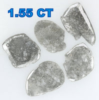 Natural Loose Diamond Slice Black Grey Color I2 Clarity 5 Pcs 1.55 Ct L5160