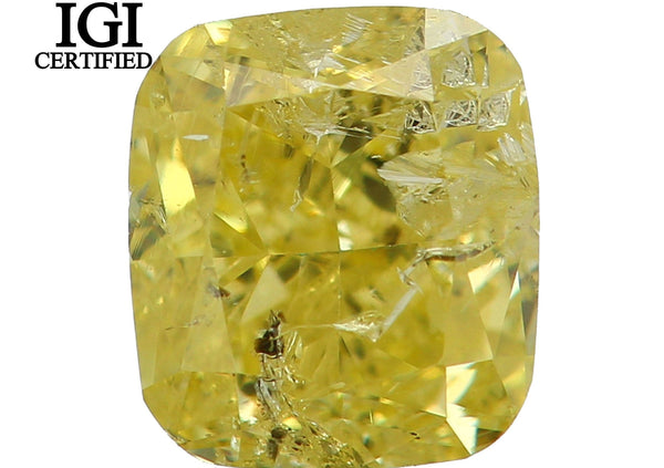IGI CERTIFIED Natural Loose Diamond Cushion Yellow Color I1 Clarity 0.56 Ct L7701 Bkk