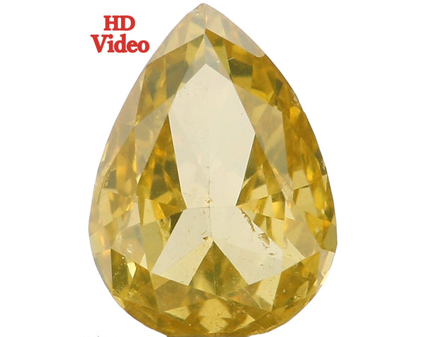 Natural Loose Diamond Pear Greenish Yellow Color SI1 Clarity 6.70 MM 0.59 Ct L6470