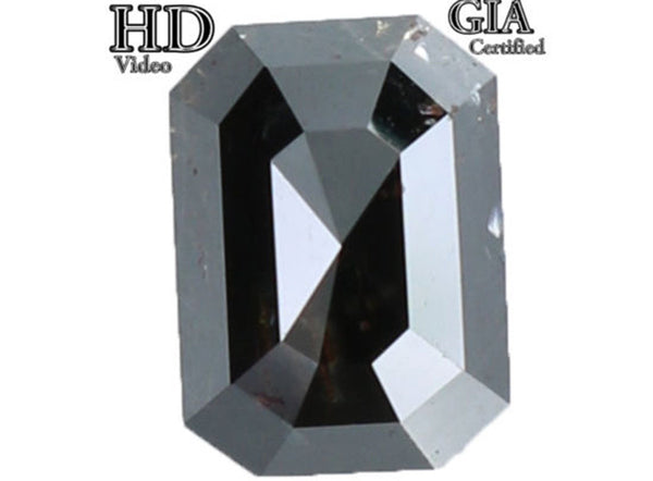 GIA CERTIFIED Natural Loose Diamond Emerald Black Color I3 Clarity 7.20 MM 1.55 Ct L7781