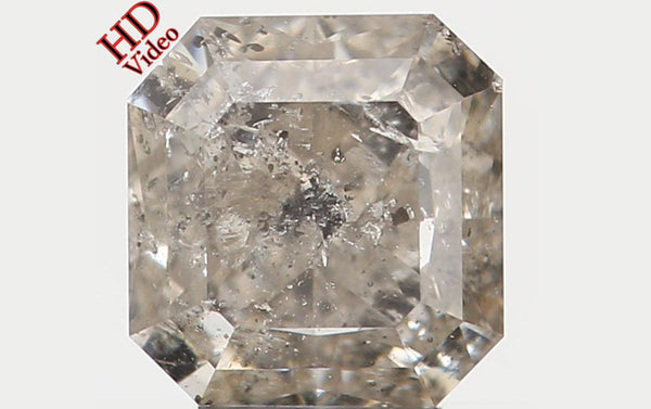 Natural Loose Diamond Radiant Yellow Grey Color I2 Clarity 4.40 MM 0.50 Ct KR851
