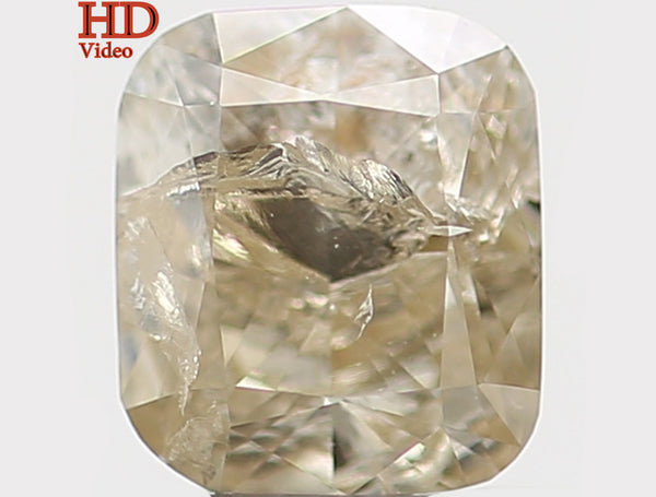 Natural Loose Diamond Cushion Yellow Grey Color I1 Clarity 4.70 MM 0.44 Ct KR981