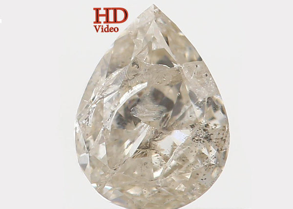 Natural Loose Diamond Pear Yellow Grey Color I1 Clarity 5.60 MM 0.43 Ct KR1009