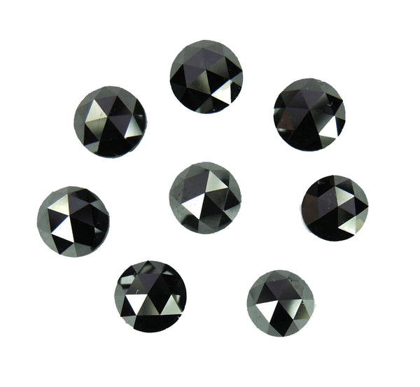 Natural Loose Diamond Round Rose Cut Chakri Black Color I3 Clarity 5 Pcs Lot 3.00 MM Q42