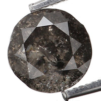 Natural Loose Diamond Round Black Grey Salt And Pepper Color I1 Clarity 4.40 MM 0.34 Ct L5996