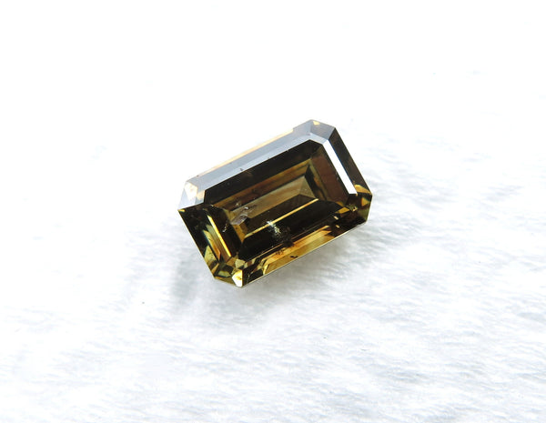 Natural Loose Diamond Emerald Fancy Deep Yellow Brown SI1 Clarity 6.90 MM 0.98 Ct