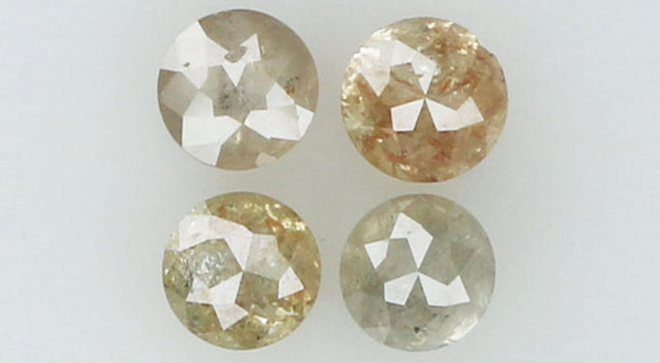 Natural Loose Diamond Round Rose Cut Brown Grey Color I3 Clarity 4 Pcs 0.89 Ct KR1037