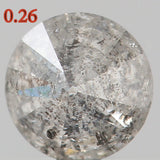Natural Loose Diamond Round Grey Black Salt And Pepper Color I2 Clarity 4.00 MM 0.26 Ct KR1056