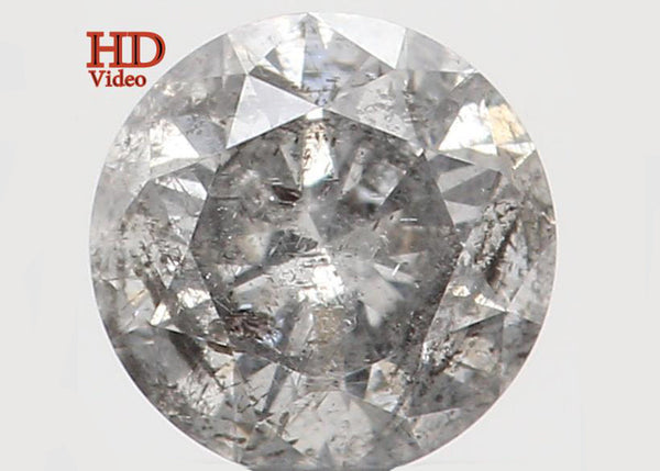 Natural Loose Diamond Round Grey Black Salt And Pepper Color I3 Clarity 4.10 MM 0.27 Ct KR1067