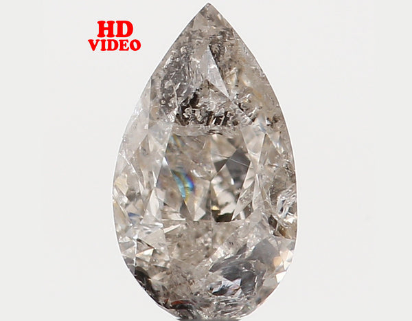 Natural Loose Diamond Pear Yellow Grey Color I1 Clarity 6.00 MM 0.38 Ct KR848