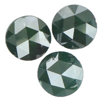 Natural Loose Diamond Round Rose Cut Dark Green Color I3 Clarity 3 Pcs 0.97 Ct KR1319