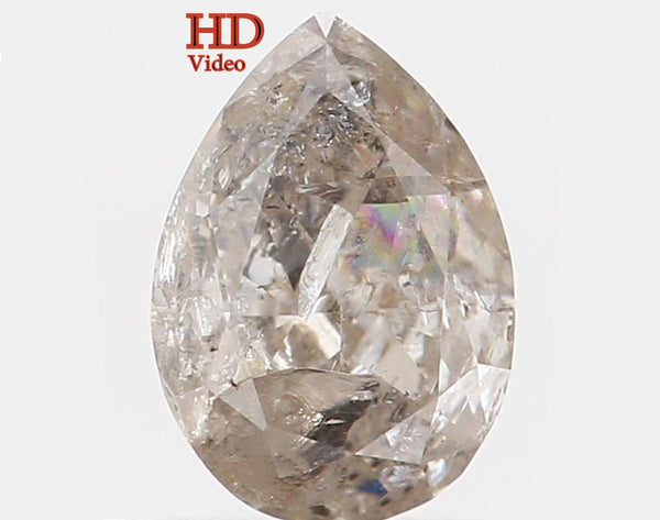Natural Loose Diamond Pear Grey Color I2 Clarity 6.00 MM 0.53 Ct KR1008
