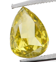 Natural Loose Diamond Pear Greenish Yellow Color SI2 Clarity 5.85 MM 0.40 Ct L6514