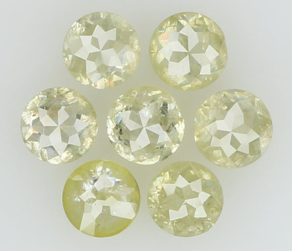 Natural Loose Diamond Round Rose Cut Yellow Grey Color I3 Clarity 7 Pcs 1.28 Ct L5985