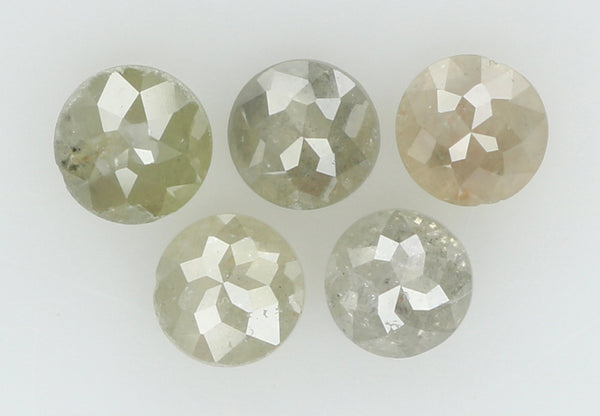 Natural Loose Diamond Round Rose Cut Grey Color I3 Clarity 5 Pcs 1.06 Ct L6054