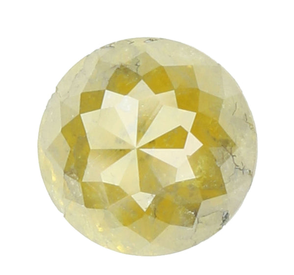 Natural Loose Diamond Round Rose Cut Yellow Green Color I3 Clarity 5.20 MM 0.85 Ct KR660