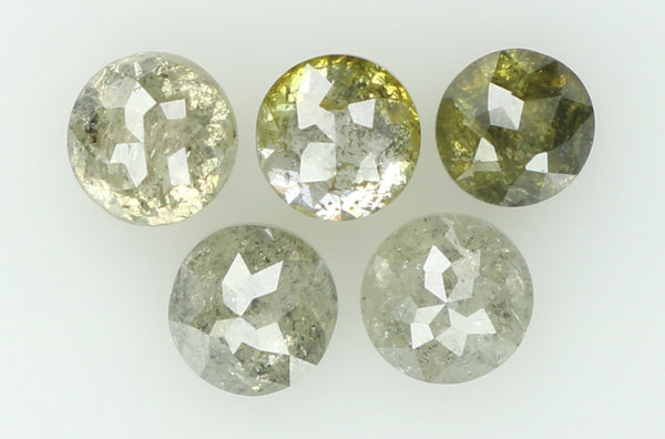 Natural Loose Diamond Round Rose Cut Grey Green Color I3 Clarity 5 Pcs 1.27 Ct L6276