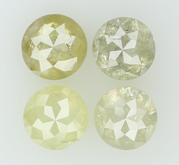 Natural Loose Diamond Round Rose Cut Yellow Grey Color I3 Clarity 4 Pcs 0.90 Ct L5038