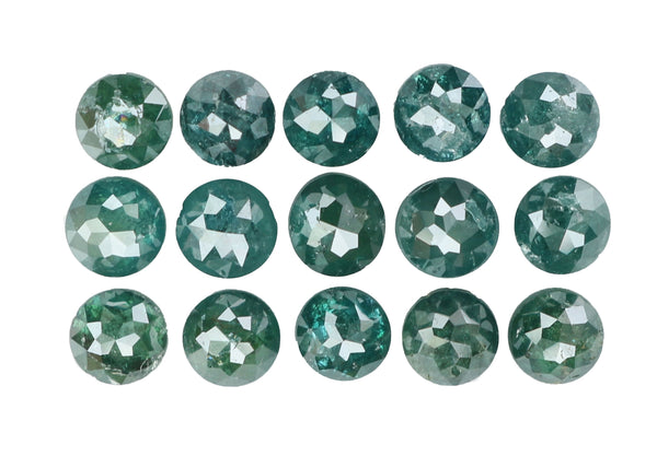 Natural Loose Diamond Round Rose Cut Blue Color I3 Clarity 15 Pcs 3.58 Ct KR638