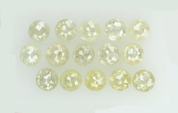 Natural Loose Diamond Round Rose Cut Light Yellow Color I2 Clarity 15 Pcs 1.28 Ct KR652