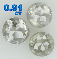 Natural Loose Diamond Round Rose Cut Still Grey Color I3 Clarity 3 Pcs 0.91 Ct L5341