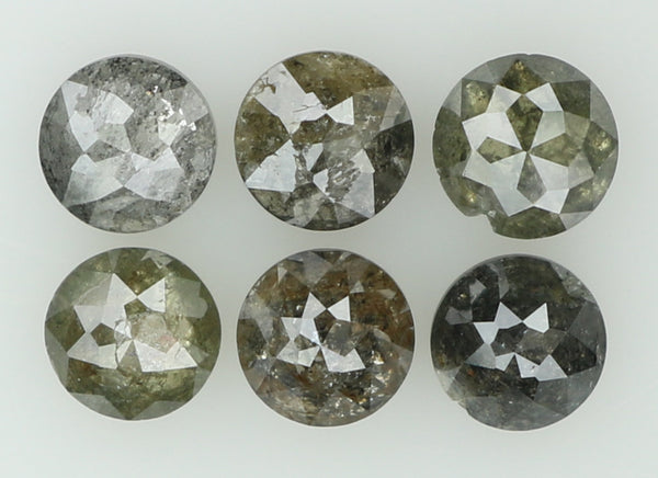 Natural Loose Diamond Round Rose Cut Grey Color I3 Clarity 6 Pcs 1.24 Ct L5570
