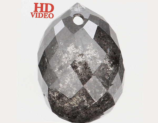 Natural Loose Diamond Drop Black Grey Salt And Pepper Color I1 Clarity 8.10 MM 2.48 Ct L5682