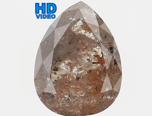 Natural Loose Diamond Pear Grey Brown Color I3 Clarity 6.30 MM 0.76 Ct L5791