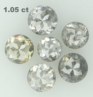 Natural Loose Diamond Round Rose Cut Grey Color I3 Clarity 6 Pcs 1.05 Ct L6324