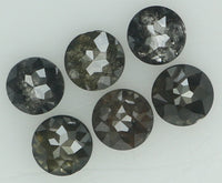 Natural Loose Diamond Round Rose Cut Black Grey Color I3 Clarity 6 Pcs 1.04 Ct KR1379