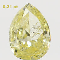 Natural Loose Diamond Pear Yellow Color SI2 Clarity 4.40 MM 0.21 Ct L6444