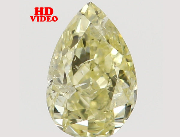 Natural Loose Diamond Pear Yellow Color SI2 Clarity 3.90 MM 0.14 Ct L6516