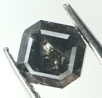 Natural Loose Diamond Radiant Black Grey Color I3 Clarity 4.60 MM 0.66 Ct KR1437