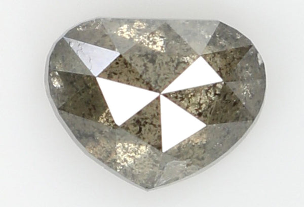 Natural Loose Diamond Heart Gray Salt And Pepper Color I3 Clarity 5.70 MM 0.60 Ct L6552