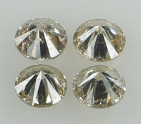 Natural Loose Diamond Round Brown Color I1-SI2 Clarity 4 Pcs 0.24 Ct L6556