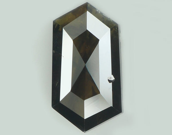 Natural Loose Diamond Hexagon Black Brown Color I2 Clarity 8.70 MM 1.05 Ct KR1486