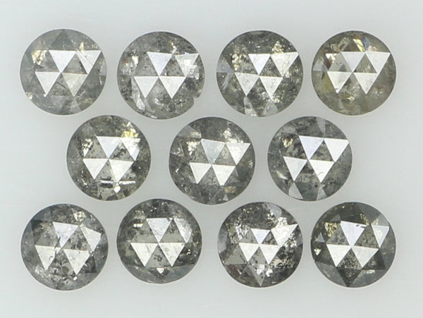 Natural Loose Diamond Round Rose Cut Black Grey Color I3 Clarity 11 Pcs 0.94 Ct KR1150