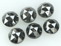 Natural Loose Diamond Round Rose Cut Black Salt And Pepper Color I3 Clarity 6 Pcs 1.17 Ct L6222