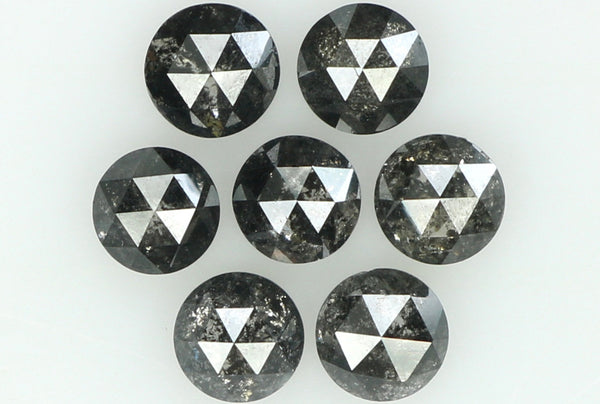 Natural Loose Diamond Round Rose Cut Black Grey Salt And Pepper Color I3 Clarity 7 Pcs 1.11 Ct L6226