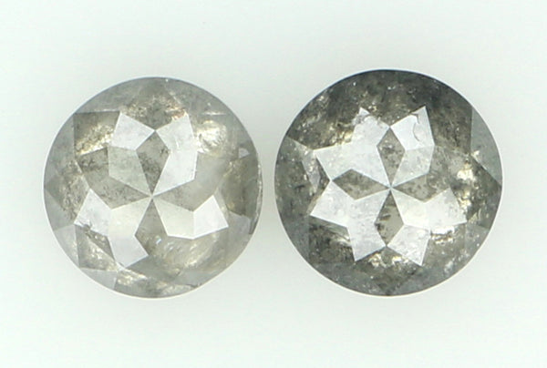 Natural Loose Diamond Round Rose Cut Grey Color I3 Clarity 2 Pcs 0.85 Ct L6309