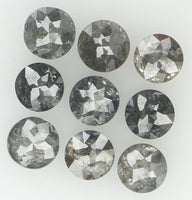 Natural Loose Diamond Round Rose Cut Black Grey Color I3 Clarity 9 Pcs 1.18 Ct L6409