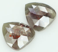 Natural Loose Diamond Pear Pair Brown Grey Color I3 Clarity 2 Pcs 2.35 Ct KR1667