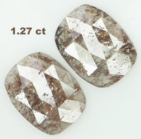 Natural Loose Diamond Cushion Pair Grey Brown Color I3 Clarity 2 Pcs 1.27 Ct L6879
