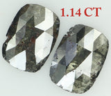 Natural Loose Diamond Cushion Black Color I2 Clarity 2 Pcs 1.14 Ct KR1565